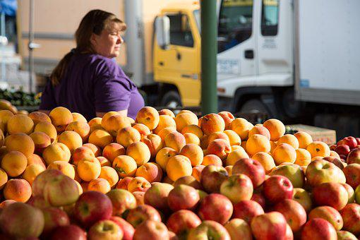 Apples, Peaches, Fruit, Fresh Market, Fruit Stand