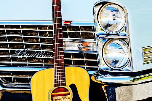 Vintage Car, Guitar, Headlights, Custom Paint