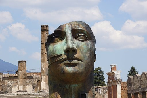 Face, Sculpture, Pompeii, Italy, Modern, Ancient, Head