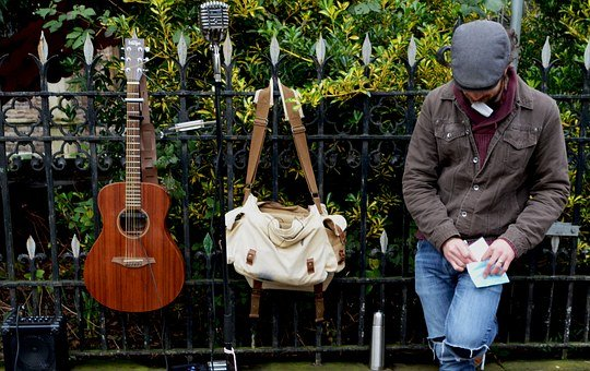 Busker, Musician, Music, Street, Instrument, Man, City