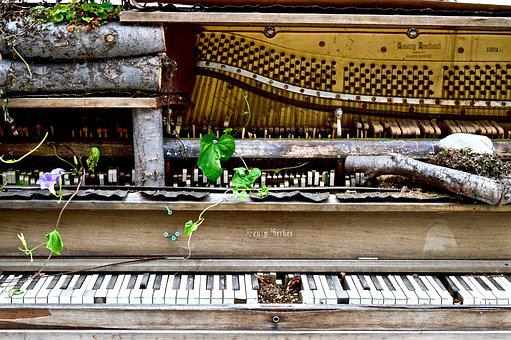 Piano, Broken, Old, Abandoned, Wrecked, Instrument