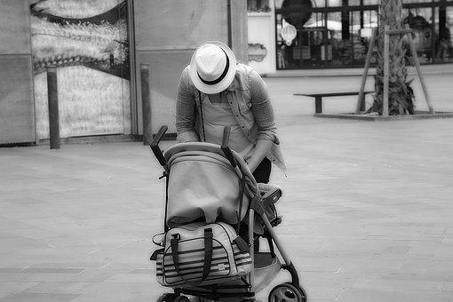 Stroller, Hat, Person, Black And White, Inhabitants