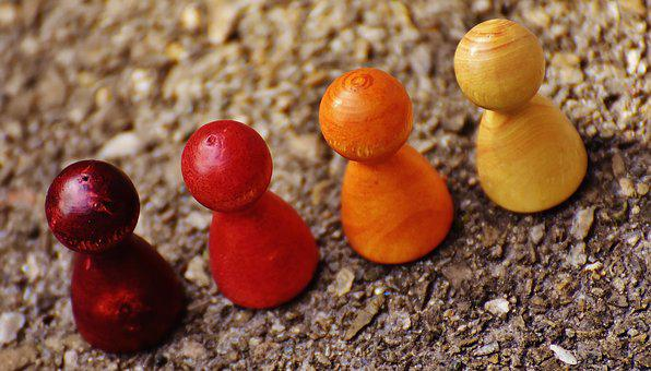 Play Stone, Figures, Wood, Colorful, Placed, Team