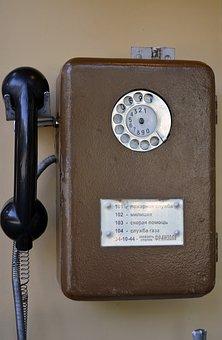 Public Telephone, Phone, Vintage, Old, Tube, Disk