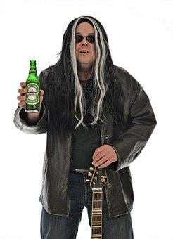 Rock Star, Rock, Guitarist, Beer, Heineken, Rocker