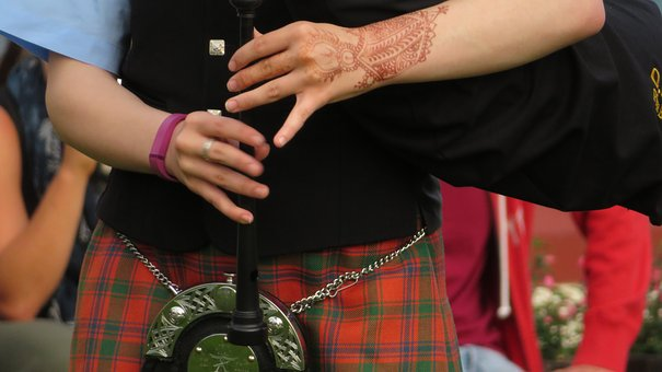 Bagpipes, Scotland, Child, Young People, Music, Hands