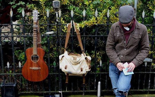 Busker, Musician, Music, Street, Instrument, Man, City