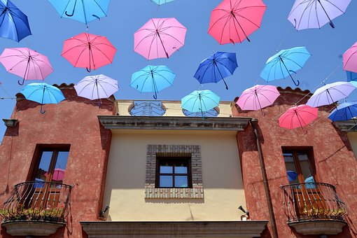 Sardinia, Pula, Umbrellas, House, Sunny, Summer