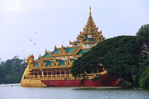 Sunset, Beautiful, Gold, Pagoda, Temple, Music