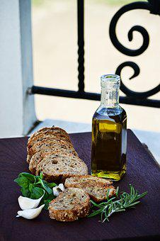 Food, Olive Oil, Garlic, Table, Board, Outdoor
