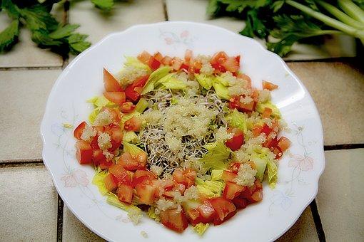 Salad, Tomato, Kinoa, Healthy Food, Power, Dietetic