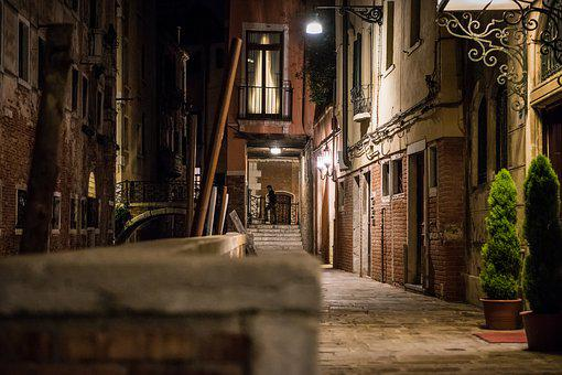 Italy, Venice, Channel, Night, At Night, Side Street