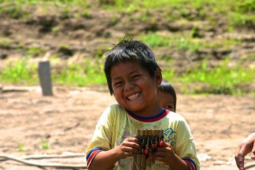 Amazon, Jungle, Boy, Joy, Laughing, Smile, Village
