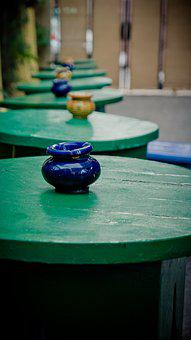 Ashtray, Wooden Tables, Table Row, Colorful Painted