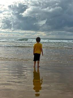 Child, Boy, Sand, Beach, Ocean, Seascape, Sea, Water