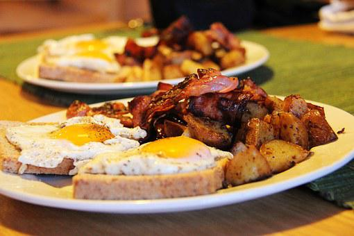 Breakfast, Cook, Food, Bread, Bacon, Eggs, Potato