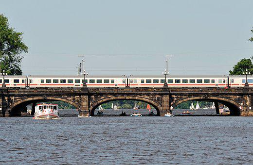 Hamburg, Binnenalster, Train, Railway, Bridge, Alster