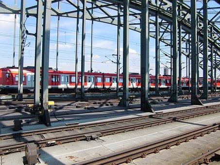 Cologne, Railway, Rails, Train, Catenary