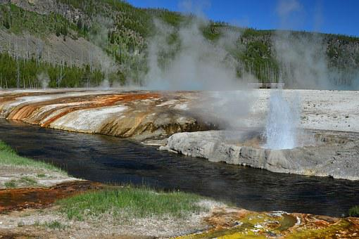 Geyser, Yellowstone, Colorful, Steam, Black Sand Basin