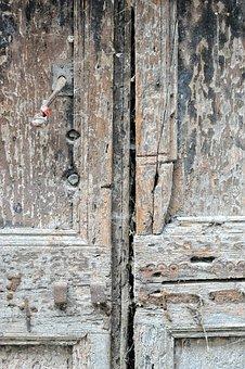Door, Wood, Texture, Paint, Iron, Rust, Color