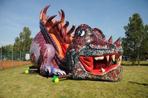 Bouncy Castle, Inflatable Slide, Dragons