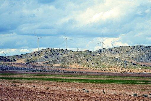 Windmills, Field, Hills, Wind, Mill, Rural, Environment