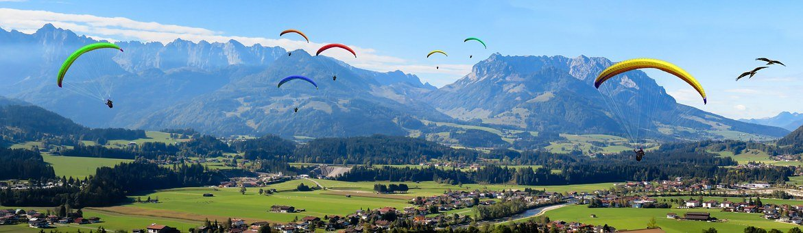 Holiday, Mountains, Landscape, Panorama, Fly, Glider