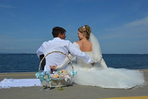 Love, Wedding, Sea, Romantic, Bride, The Groom, Couple