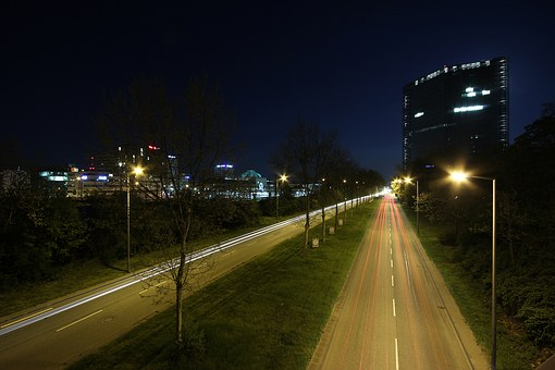 Road, Night, City, Mannheim, Light Streaks, Traffic