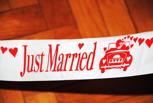 Wedding, Marriage, Just Married, Shield, Band