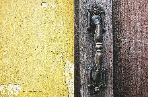 Door, Handle, Wood, Metal, Materials, Old, Paint