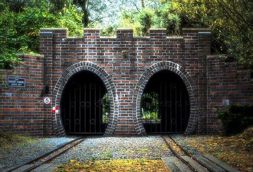 Bridge, Train Track, Miniture Train, Trees, Arch, Brick