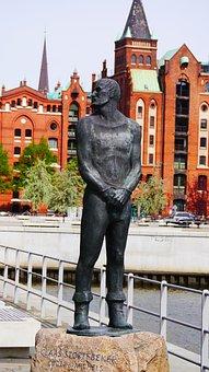 Pirate, Sailor, Sculpture, Monument, Hamburg