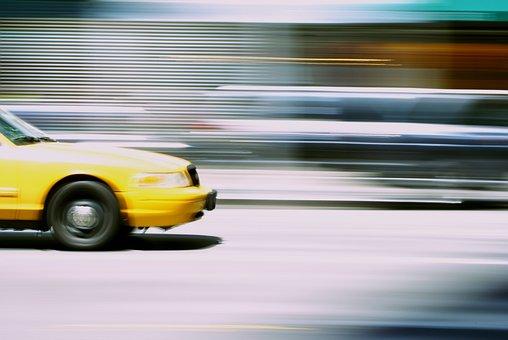 Taxi, Motion, Urban, Transport, Street, Traffic, Car