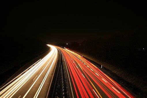 Long Exposure, Road, Traffic, Night, Lights, Spotlight
