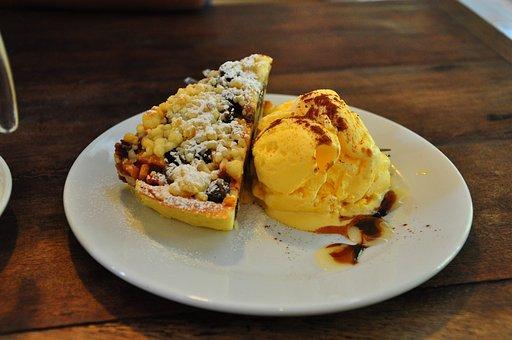 Apple Pie, Ice Cream, Dessert, Food, Apple, Pie, Plate