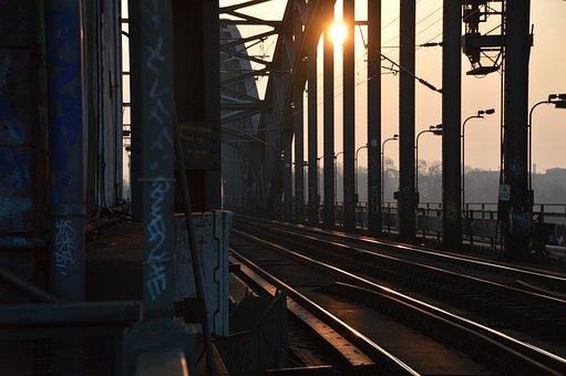 Sun, Evening, Railway, Rails, Train, Bridge