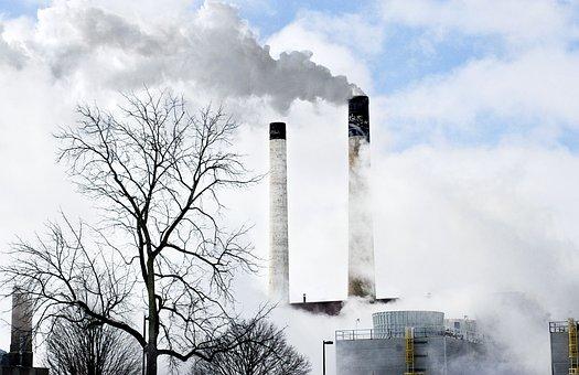 Smoke Stacks, Power Plant, Power, Smoke, Pollution
