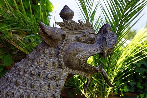 Dragon, Lion, Bronze, Statue, Sculpture, Nepal, Messner