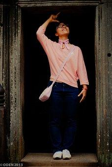 Girl, Asian, Temple, Angkor Wat, Tourist, Tall, Nice