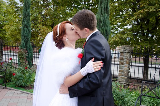 Wedding, Kiss, The Groom, Bride, Stroll, Just Married