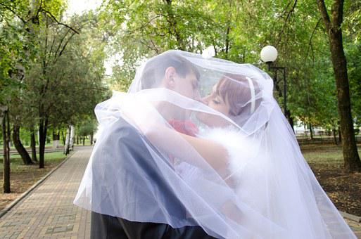Wedding, Kiss, The Groom, Bride, Stroll, Just Married