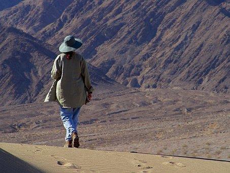 Hiking, Sand, Wanderer, Dunes, Desert, Death Valley