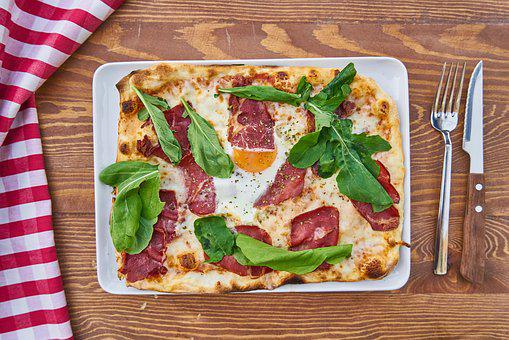 Food, Pizza, Meat, Bacon, Egg, Dough, Flour, Fork