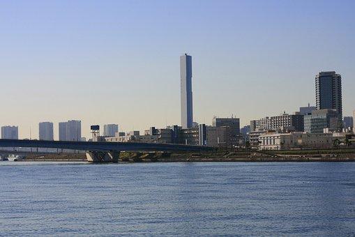 High Rise Building, Bill, River, Toyosu, City