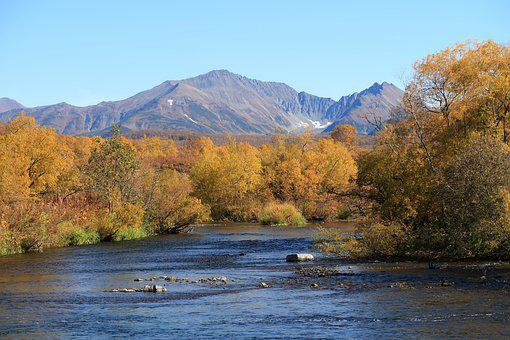 Autumn, River, Mountains, Forest, An Ancient Volcano