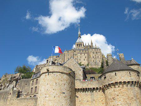 French Flag, Mont Saint Michel, Abbey, Normandy, France