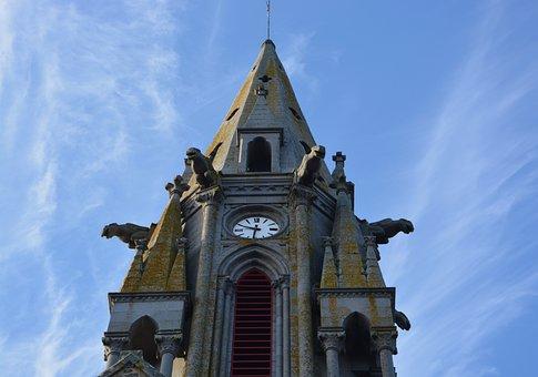 Bell Tower, Church Meillac, Clock, Heritage, Gargoyles