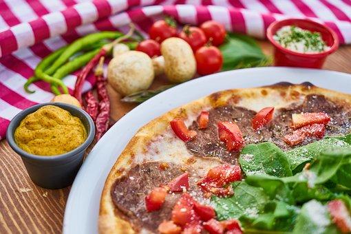 Pizza, Food, Meat, Bacon, Dough, Tomato, Macro, Kitchen