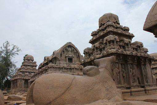 Mahabalipuram, Five Rathas Site, Stone Works, Tn
